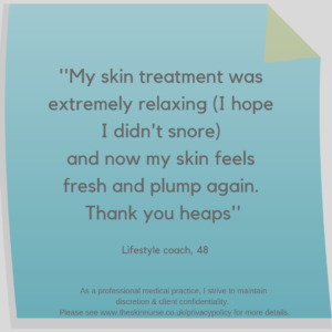 Client feedback after skin treatment teddington